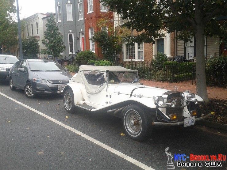Старинная машина, США, припаркована, жилого дома, окна, машины, мягкого пластика, Вашингтон, NYC-Brooklyn